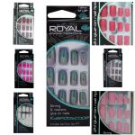 ROYAL NAIL TIPS 24 FALSE FAKE NAILS CHOICE OF 7 COLOUR RAINBOW PINK VINTAGE ROSE